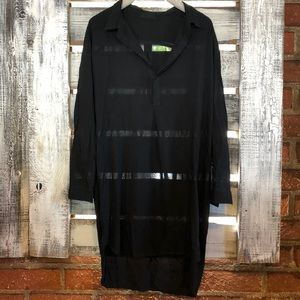 Cp shades black cotton high low tunic dress